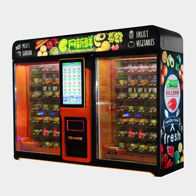 智能生鲜水果蔬菜无人贩卖自动售货机商用24小时刷脸自助超市加盟